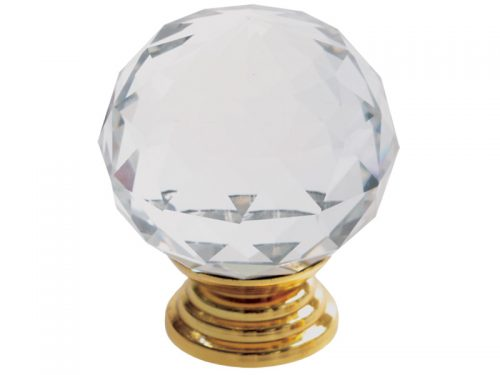 CRYSTAL KNOB 40mm PB - ROUND