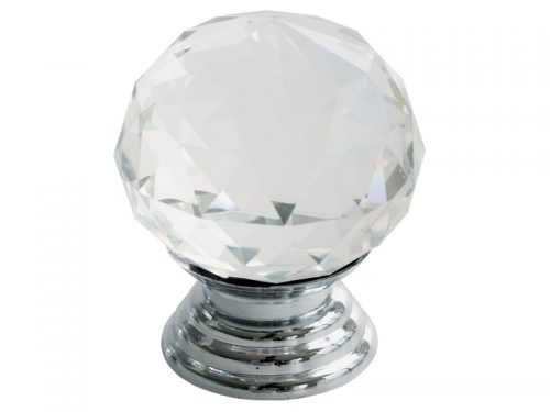 CRYSTAL KNOB 34mm CP - ROUND