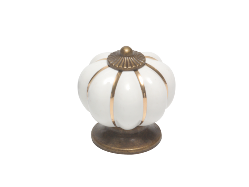 KNOB - CERAMIC FLOWER WHITE