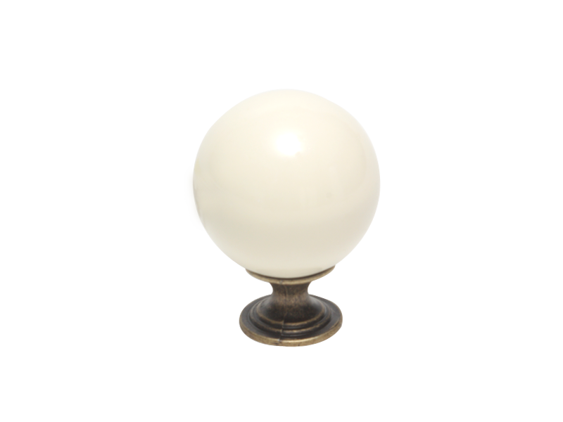KNOB - CERAMIC ROUND WHITE