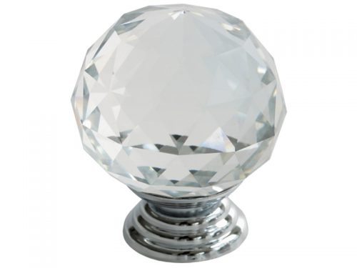 CRYSTAL KNOB 40mm CP - ROUND